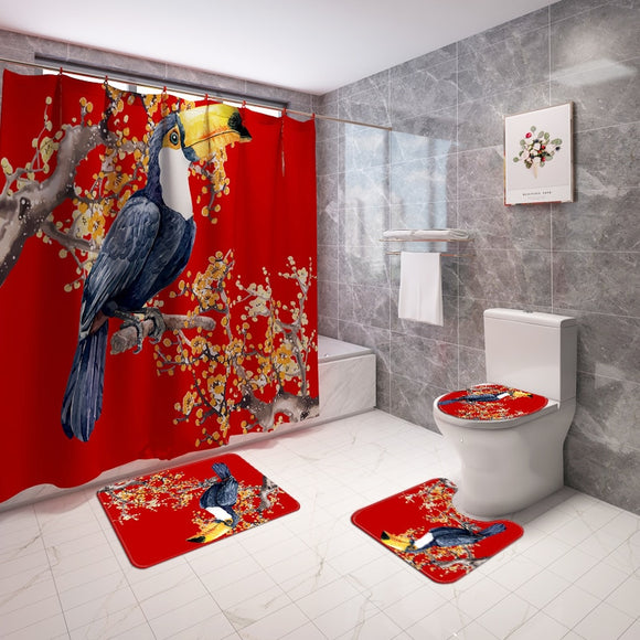 Waterproof 3D Digital Bird Printing Shower Curtain Toilet Cover Bath Mat Non Slip Rug Set