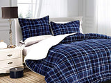 Softest Heavy Weight Plaid Pattern Micromink Sherpa-Backing Down Alternative Micro-Suede 3-Piece Reversible Comforter Set