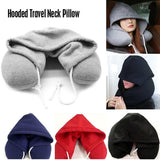 New Travel Hooded U Shaped Pillow Cushion Car Office Airplane Head Rest Neck Support U Shaped, Eye Mask Eyemask neck Pillow