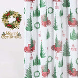 Christmas Faux Linen Sheer Curtains Light Filtering Grommet. Set of 2 Panels