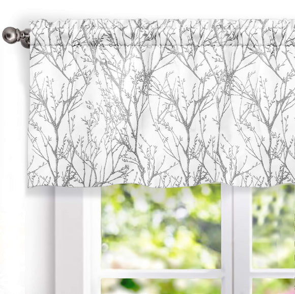 Tree Branch Abstract Printing Lined Thermal Insulated Window Curtain Silver Gray Pack of 2