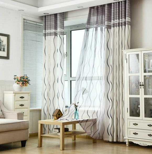 Classic Black / White Stripe Flat Protection Curtain Size - W 120