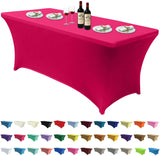 Spandex Tablecloths for 4 ft Table Fitted Stretch Table Cover Polyester Table Cover Topper