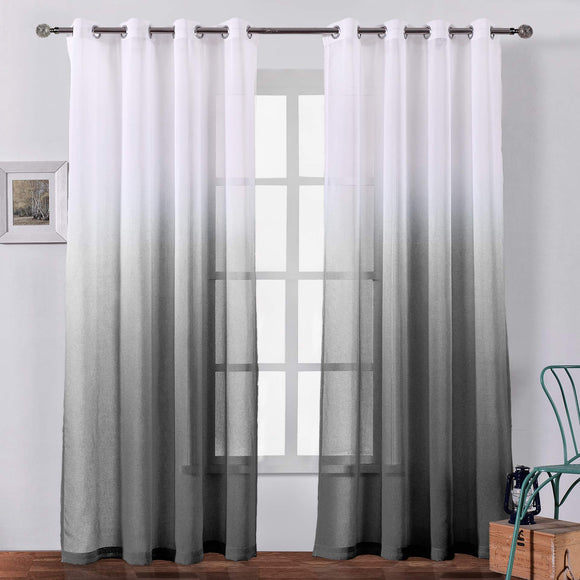 Faux Linen Ombre Sheer Curtains Voile Grommet Semi Sheer Set of 2