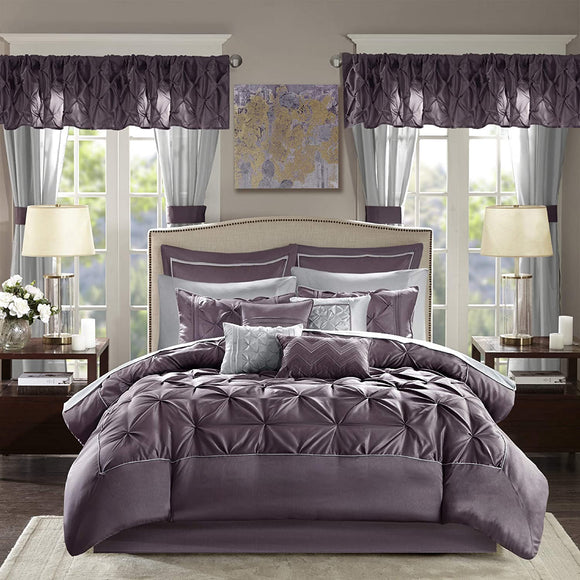 Master Bedroom 24 Piece Room in a Bag Faux Silk Comforter Set-Luxe Diamond Tufting All Season Bedding, Matching Curtains, Decorative Pillows