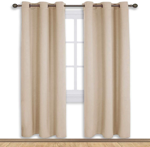 Set of 2 Blackout Window Curtains and Drapes for Kitchen Window Treatment Thermal Insulated Solid Grommet Blackout Drapery Panels