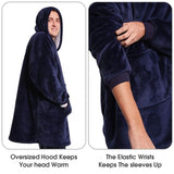 Outdoor Hooded Pocket Blanket Warm Soft Fleece With Sleeves