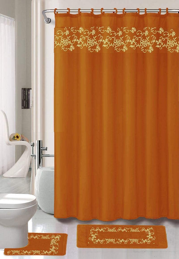 18 Pieces Shower Curtain with Matching Fabric Hook, Embroidery Bath Mat,Contour Rug and Towel Set