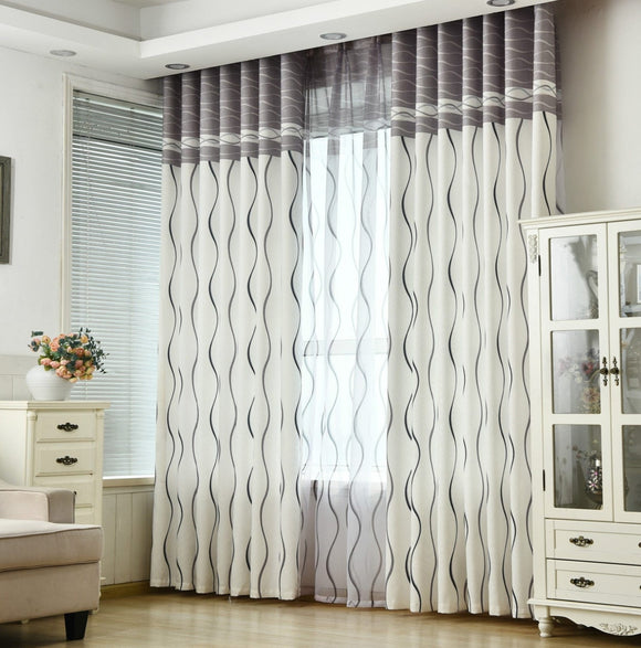 Classic Black / White Stripe Flat Protection Curtain Size - W 40