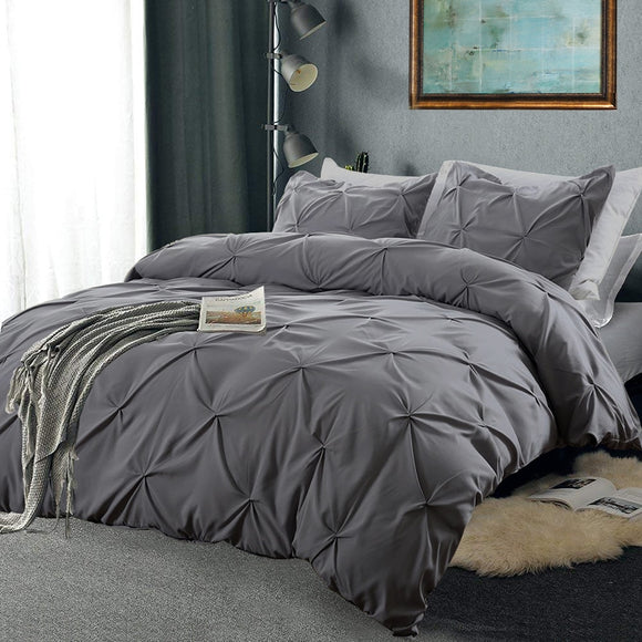 Pinch Pleat Bedding Set Cotton Soft Duvet Pillowcases