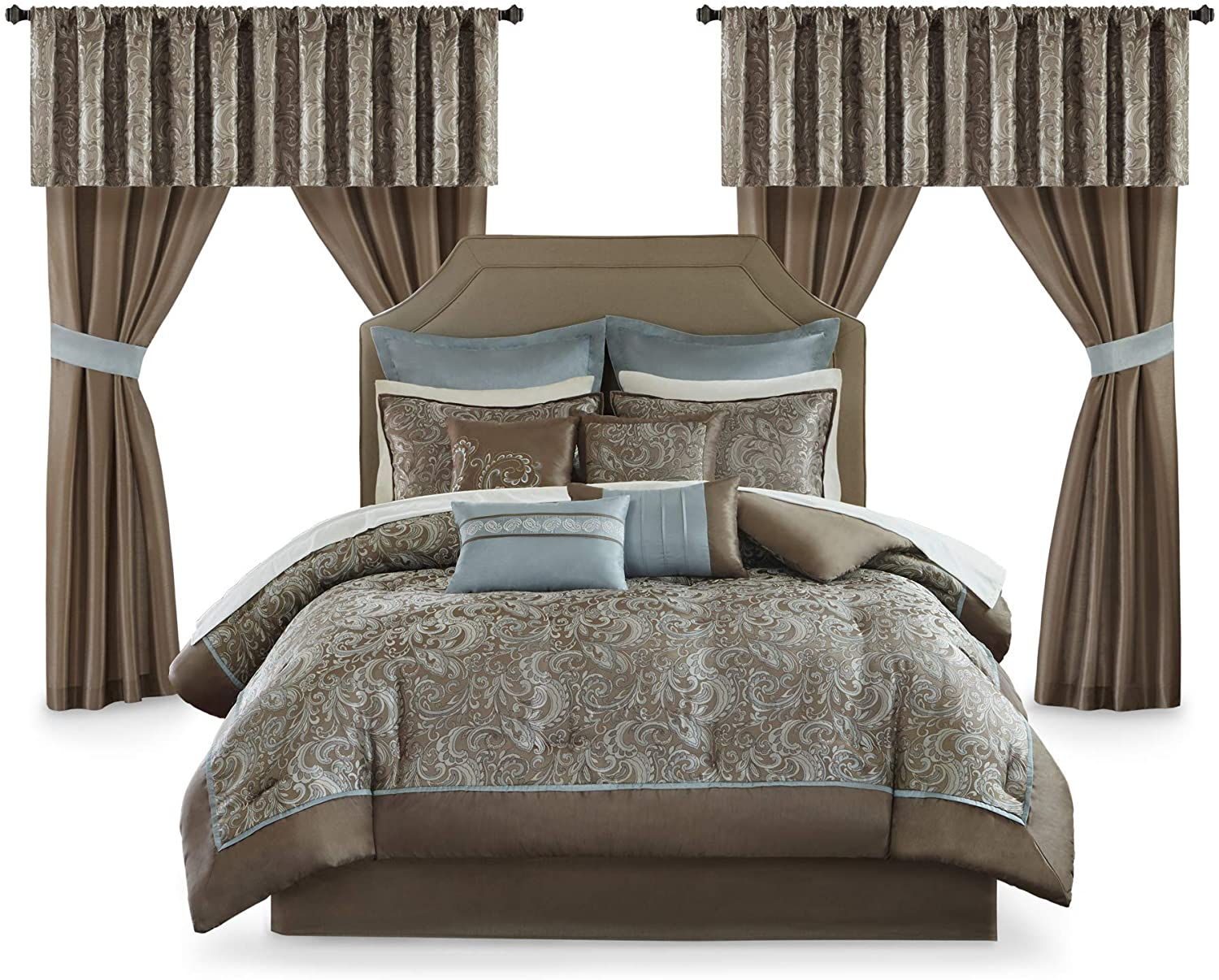 Master Bedroom 24 Piece Room In A Bag Faux Silk Comforter Jacquard Pai Anna S Linens Store