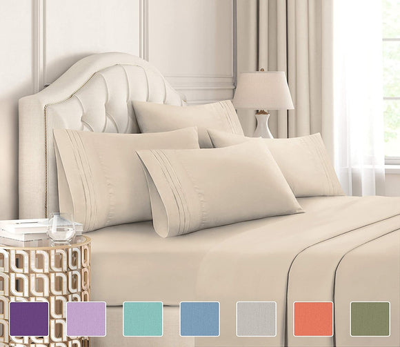 6 Piece Bed Sheets Set- Extra Soft - Deep Pockets - Easy Fit - Breathable & Cooling - Wrinkle Free
