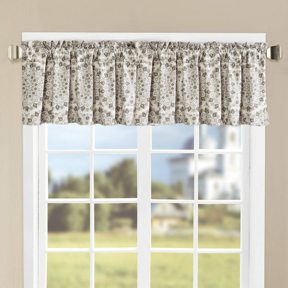 Printed Valance Set, Gray, 60