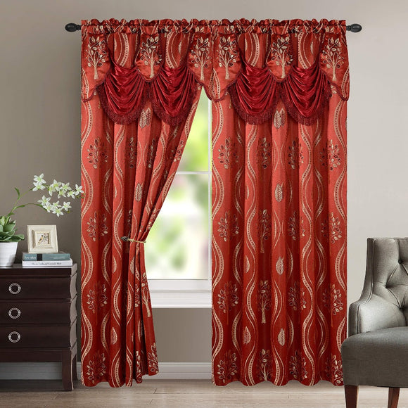 Luxurious Beautiful Curtain Panel Set with Attached Valance and Backing 54