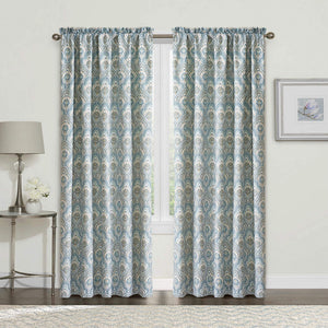 "2 Piece Printed Mini Tivoli Curtain Set, Teal, 60"" x 84"""
