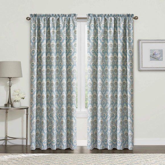 2 Piece Printed Mini Tivoli Curtain Set, Teal, 60