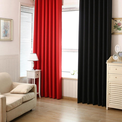 Blackout Curtains Solid Color Blackout Cloth Insulation Curtain for Livingroom Bedroom