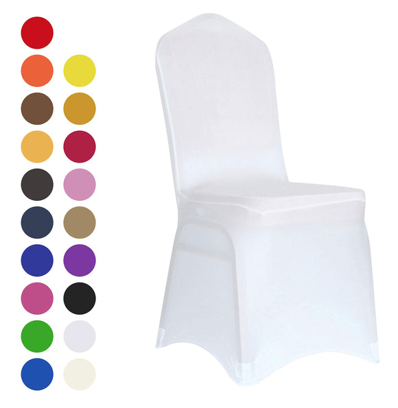Set of 10. White Spandex Dining Room Chair Covers for Living Room - Universal Stretch Chair Slipcovers Protector