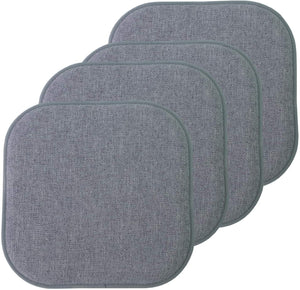 "Pack of 4. Memory Foam Chair Cushion Honeycomb Pattern Slip Non Skid Rubber Back Softness Rounded Square 16"" x 16"" Seat Cover"