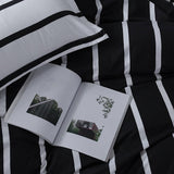 Monochromatic Stripes Duvet Bedding Set King Size