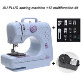 Mini 12 Stitches Sewing Machine Household Multifunction Double Thread And Speed Free Arm Crafting Mending Machine LED