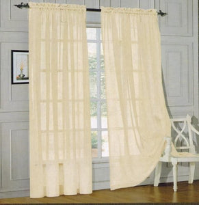 Window Curtains 2-Piece Sheer Panel with 2 inch Rod Pocket