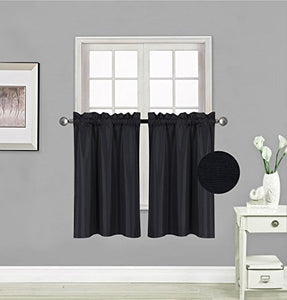 Small Window Treatment Short Curtain Insulated Blackout Drapes Tiers 2 Panels Set