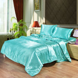 Luxury Bedding Set Satin Silk Duvet Cover Pillowcase Bed Sheet Twin Queen King Size