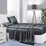 Silk Satin Sheets, 4-Piece Bed Sheet Set Deep Pockets, Cooling Soft Hypoallergenic