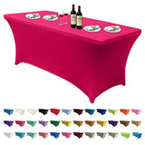 Spandex Tablecloths for 6 ft Table Fitted Stretch Table Cover Polyester Table Cover Topper