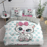 Cartoon Duvet Cover Set Cute Cats Printed 3D