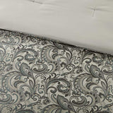 Master Bedroom 24 Piece Room in a Bag Faux Silk Comforter Jacquard Paisley Design Matching Curtains - Down Alternative Hypoallergenic