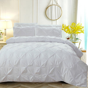 Pinch Pleat Bedding Set Luxury Silk Duvet Cover and Pillowcases