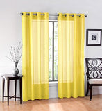 "Textile 2 Piece Window Sheer Curtains Grommet Panels 54"" X 84"" Total 108"" X 84"" Inch Length"