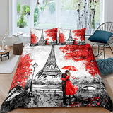 Erosebridal Eiffel Tower Duvet Cover Bedding Set Maple Leaf Decor Comforter Cover Set Soft Microfiber Quilt Set with Zipper Ties