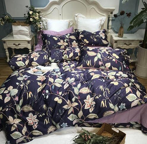 Silk Egyptian Cotton Birds Plant Duvet Cover Bedding Set