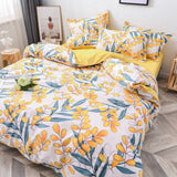 Flower Duvet Cover Bedding Set Peach Daisy Pastoral style King Size
