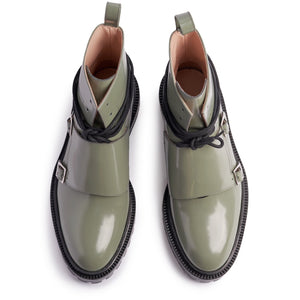 INCH2 PALE GREEN MONK BOOTS