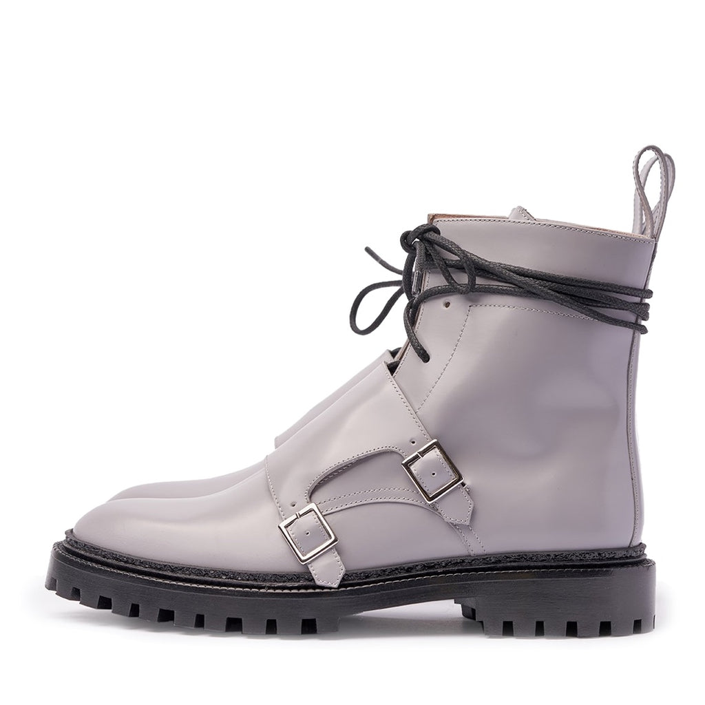 INCH2 PALE GREY MONK BOOTS