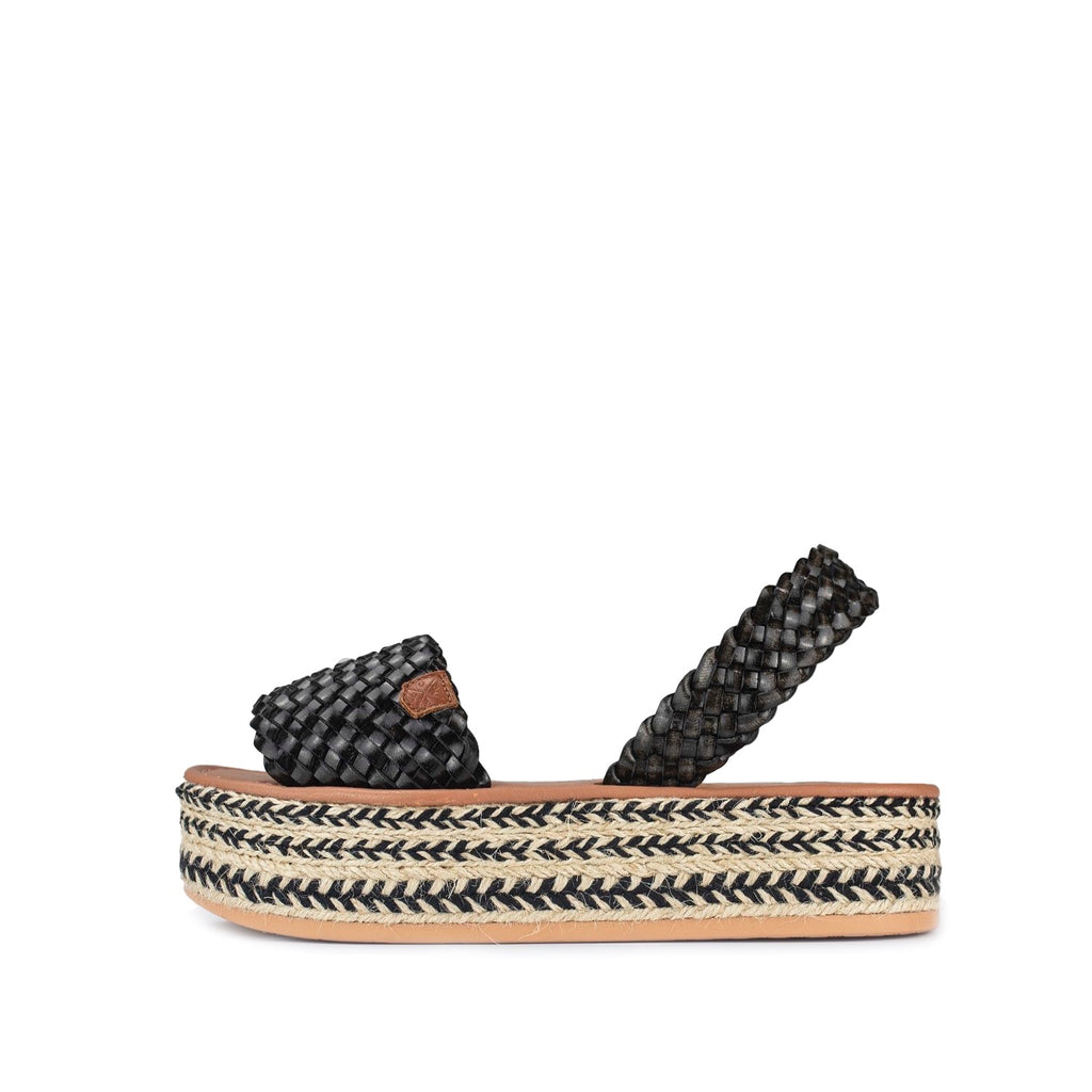 POPA Black Plaited Avarca Sandals