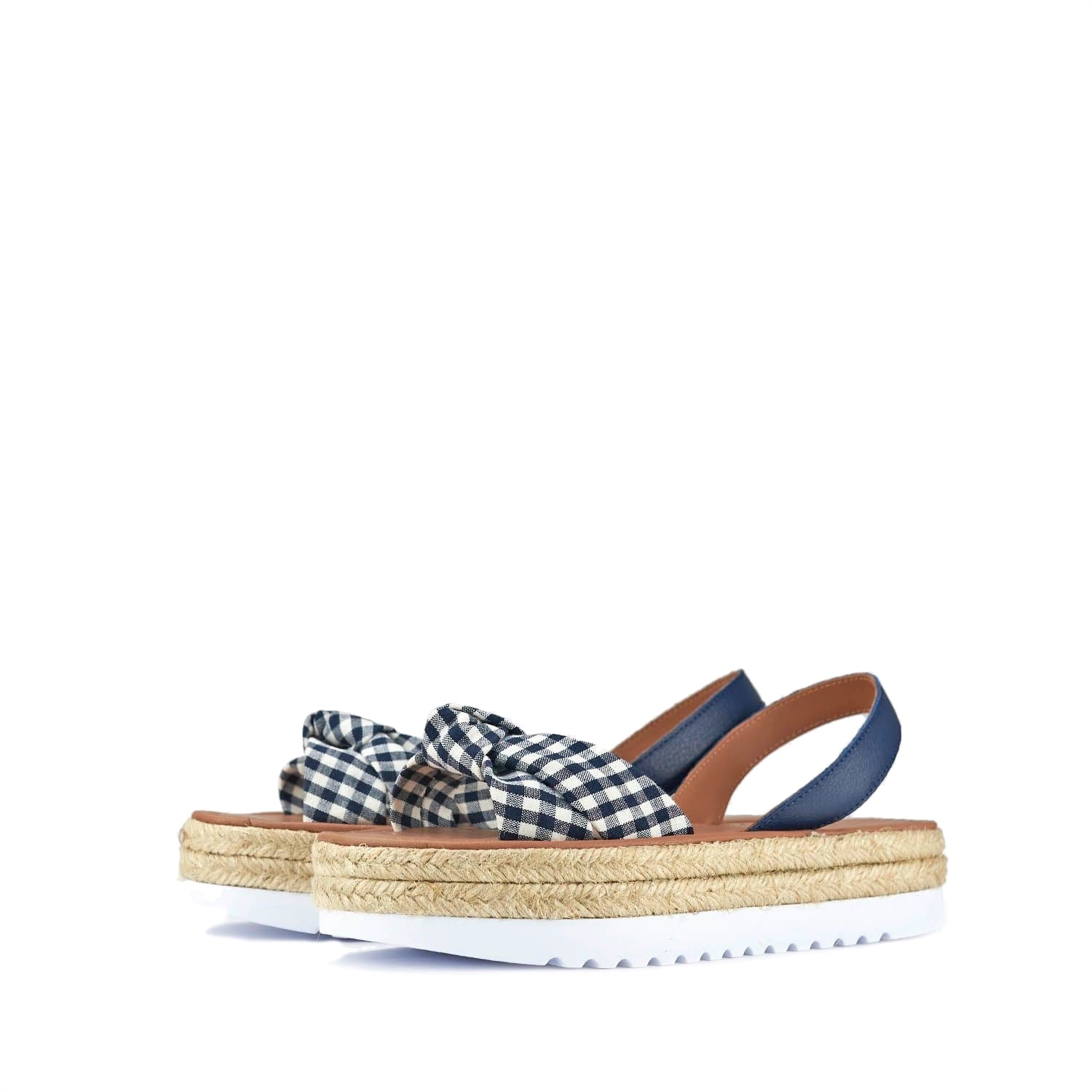 POPA Pampas White and Blue Gingham Avarca Sandals