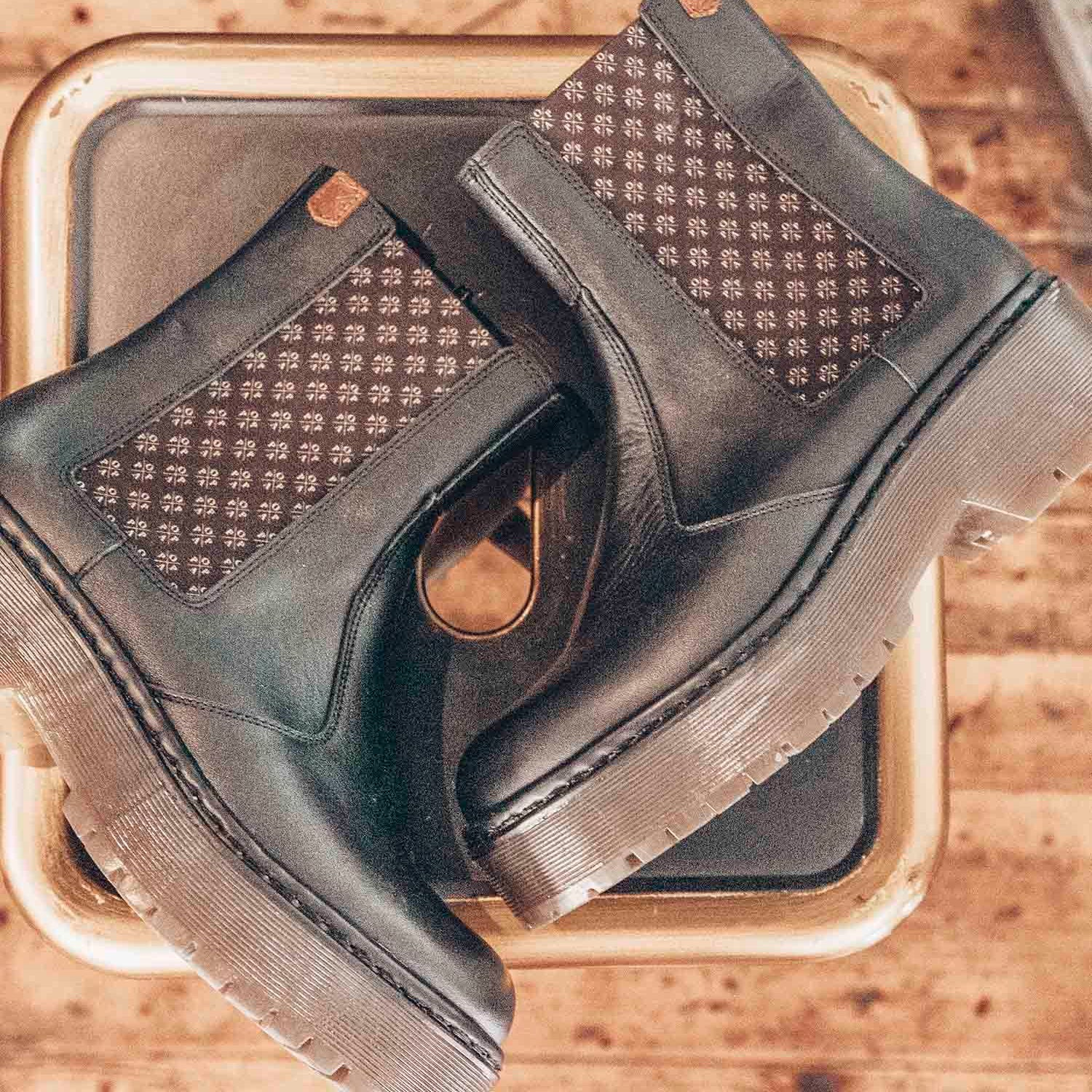POPA Black and Brown Logo Chelsea Boots