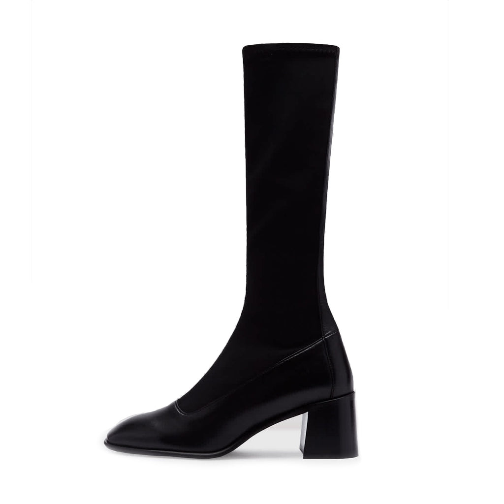 Miista ALISA BLACK STRETCH LEATHER BOOTS LONG