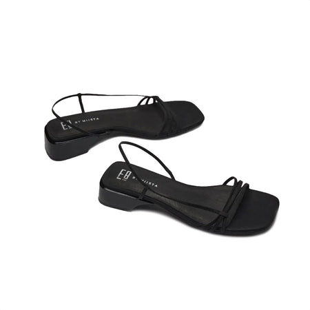 MIISTA BLACK SILK SANDALS
