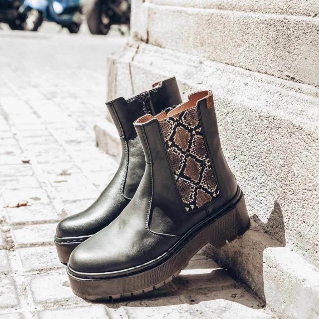 POPA Black and Snakeskin Print Chelsea Boots