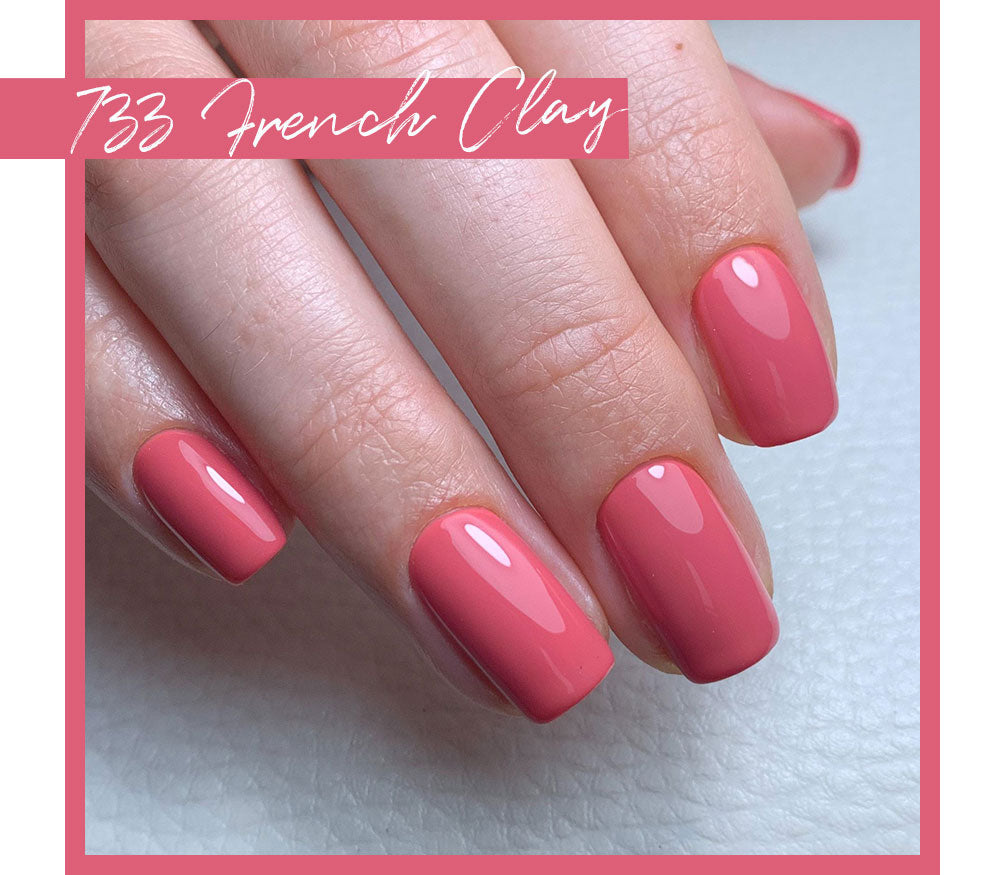 Calgel French Clay Pro Colour French Clay. Anique Pink Nail Swatch.