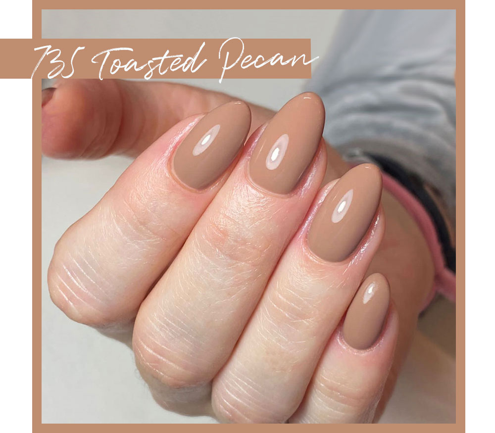 Calgel Toasted Pecan Pro Colour Toasted Pecan. Chocolate Nail Swatch. Almond Nail Swatch.