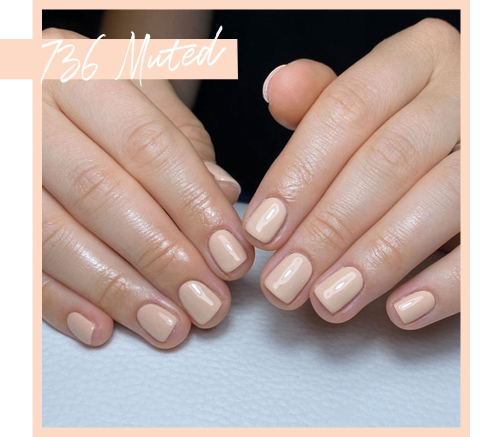 Calgel Muted Pro Colour Muted. Beige Nude Nail Swatch.