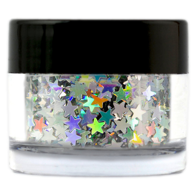 Silver Holographic Glitter Stars