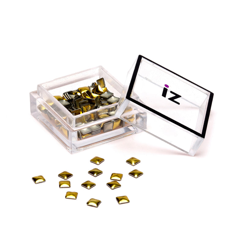 Medium Gold Square Nail Studs 40 pcs